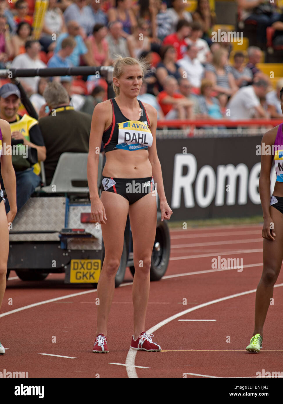 Heidi Dahl preparing for womens 1500meters in IAAF Diamond League in Gateshead 2010 Stock Photo