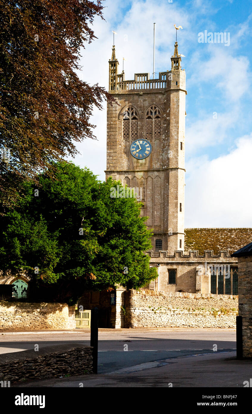 Church tower of Church of the Holy Cross in Sherston, Wiltshire, England, UK - Stock Image