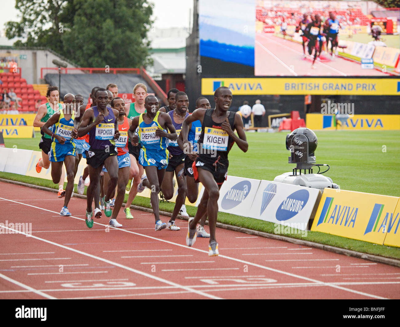 The field running 5000m in IAAF Diamond League Gateshead - Stock Image