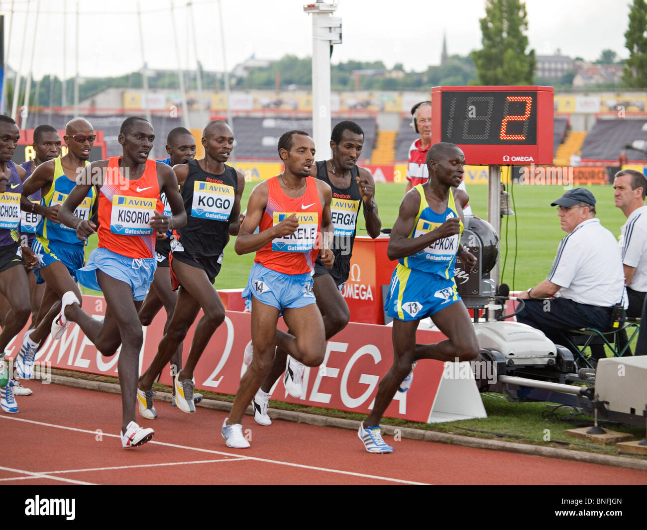 The field running 5000m in IAAF Diamond League Gateshead Stock Photo