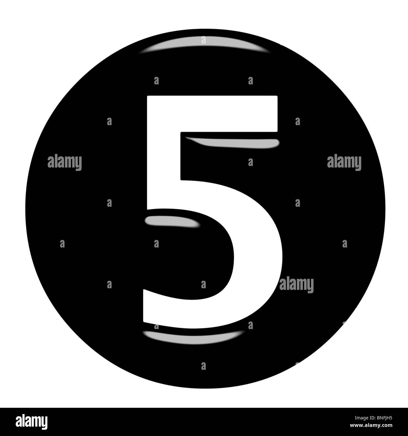 3d framed number 5 - Stock Image