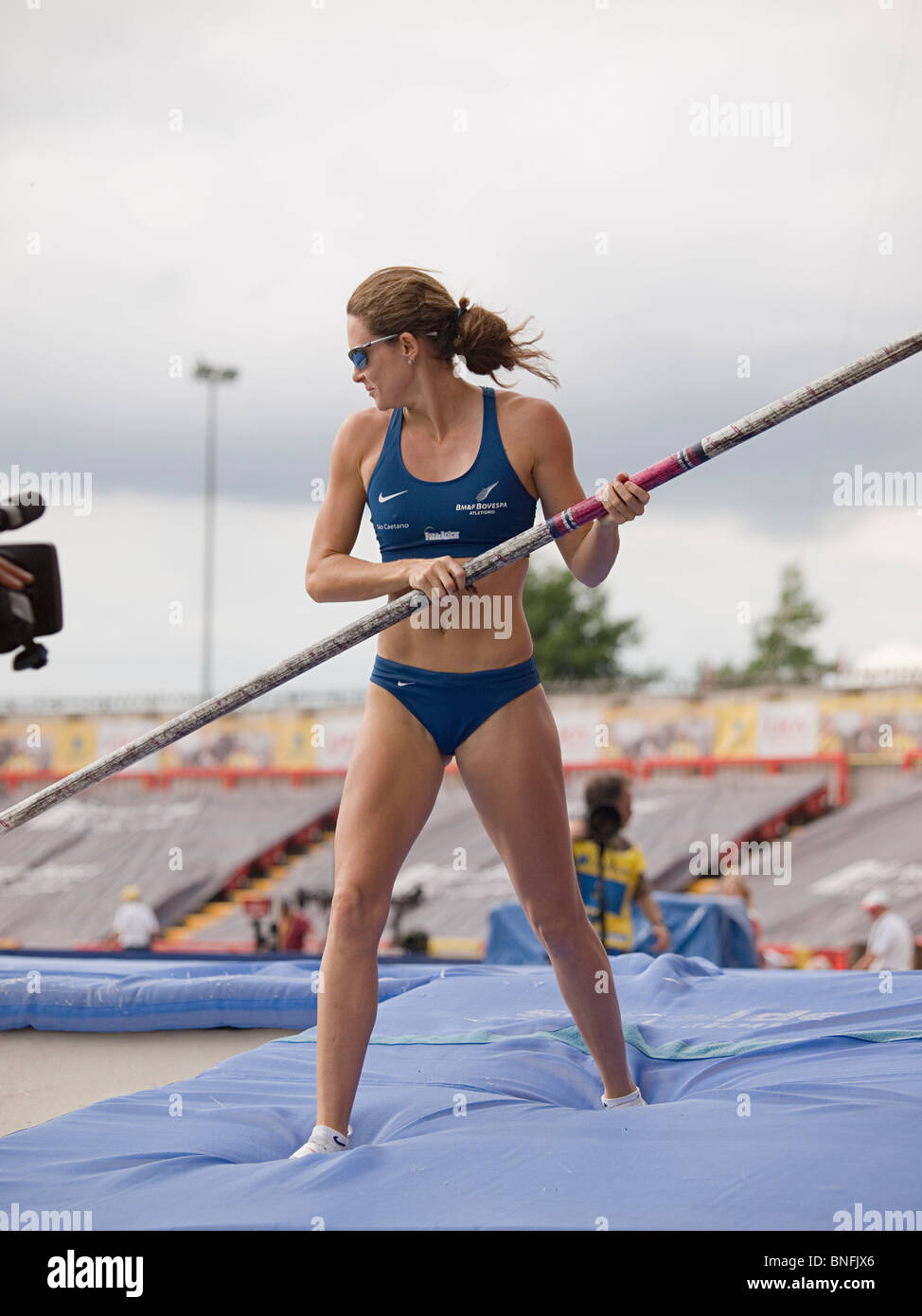 Fabiana Murer on the mattrass after an attempt at Pole Vault during Diamond League Aviva British Grand Prix in Gateshead - Stock Image