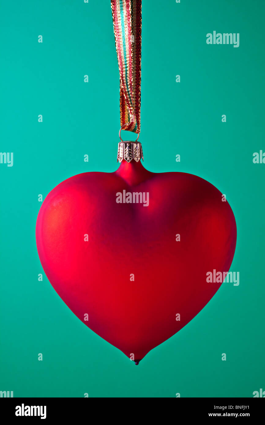 Red heart Xmas ornament - Stock Image