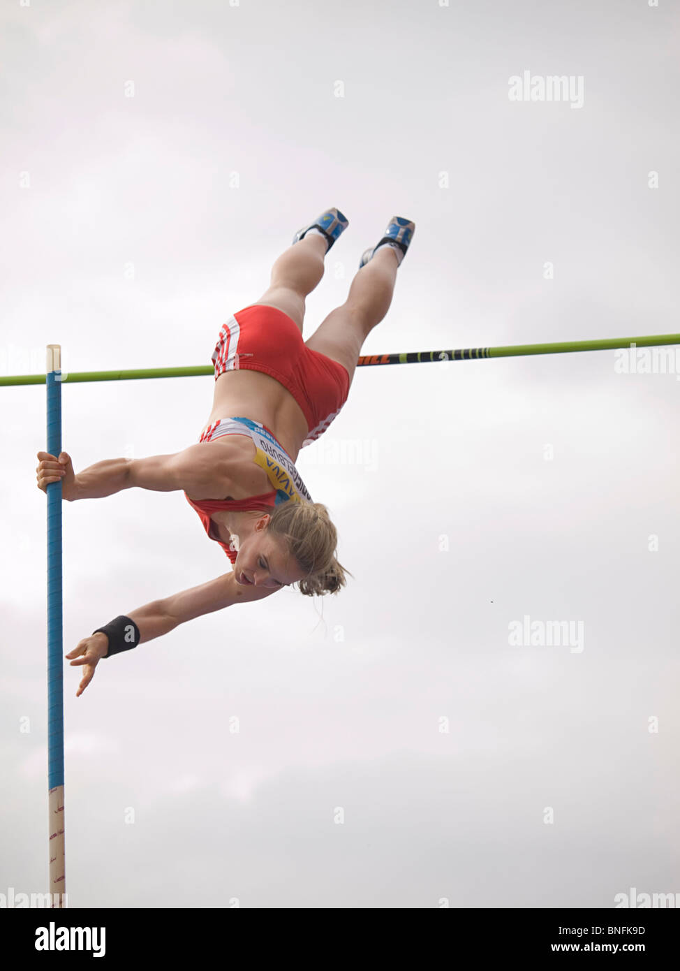 German Athlete Silke Spigelburg  during the Pole Vault competition in the Diamond Leage Aviva British Grand Prix - Stock Image