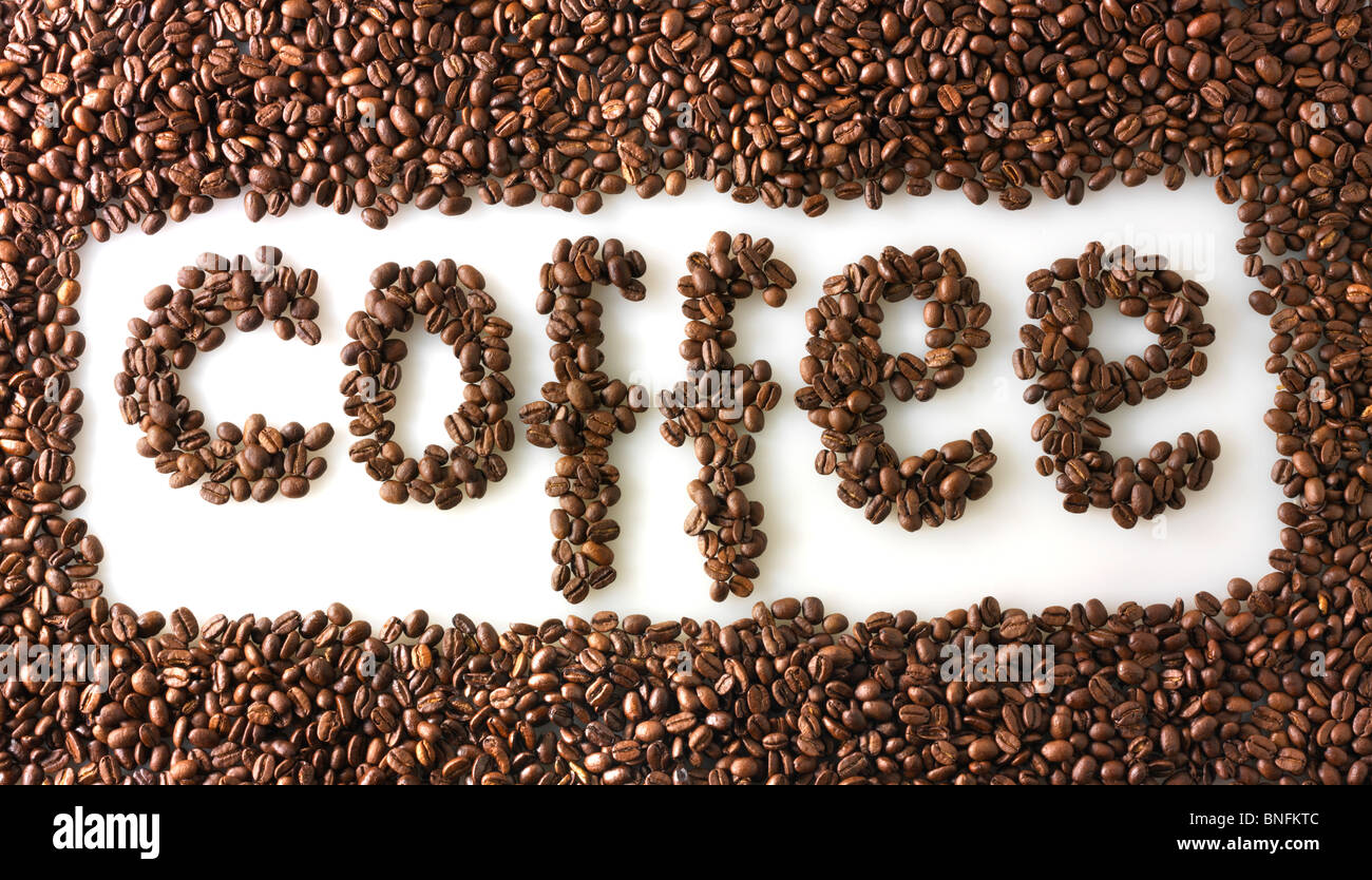 Coffe Beans making the word coffee - Stock Image
