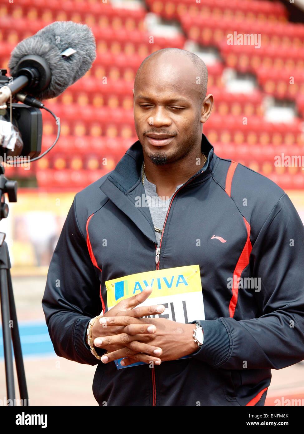 Asafa Powell being interviewed at Gateshead Stadium before Diamond League Aviva British Grand Prix in Gatshead 2010 - Stock Image