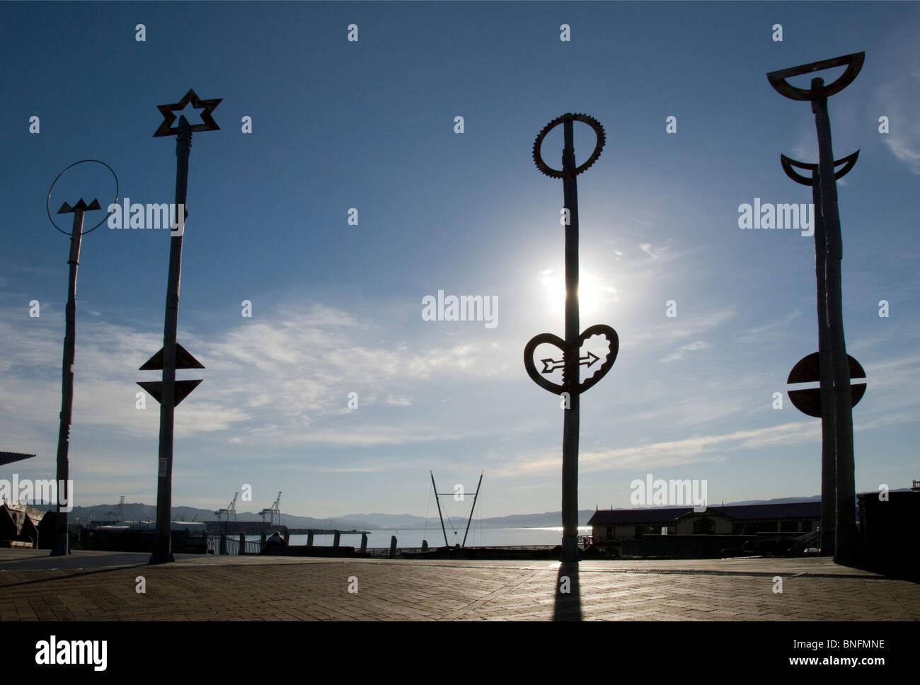 Art works on 'City to Sea' bridge, Wellington, North island, New Zealand - Stock Image