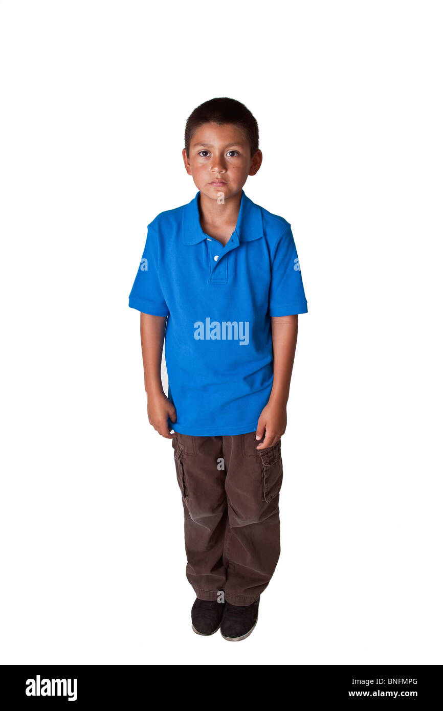 Hispanic boy 8-10 years old standing. POV United States MR  © Myrleen Pearson - Stock Image