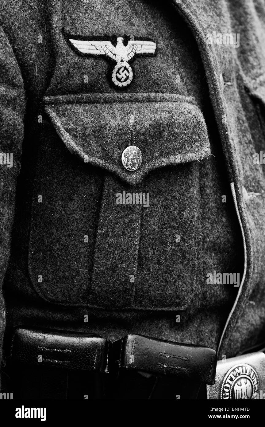 WW2 German army soldiers uniform. Monochrome - Stock Image