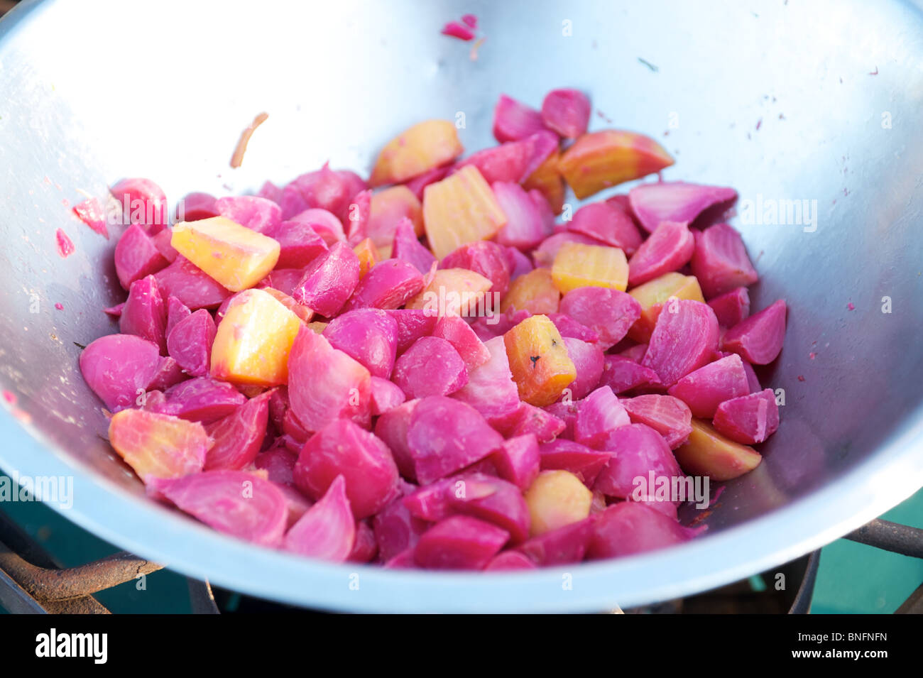 Sauteed Beets. Outstanding in the Field Dinner. Pemberton BC, Canada - Stock Image