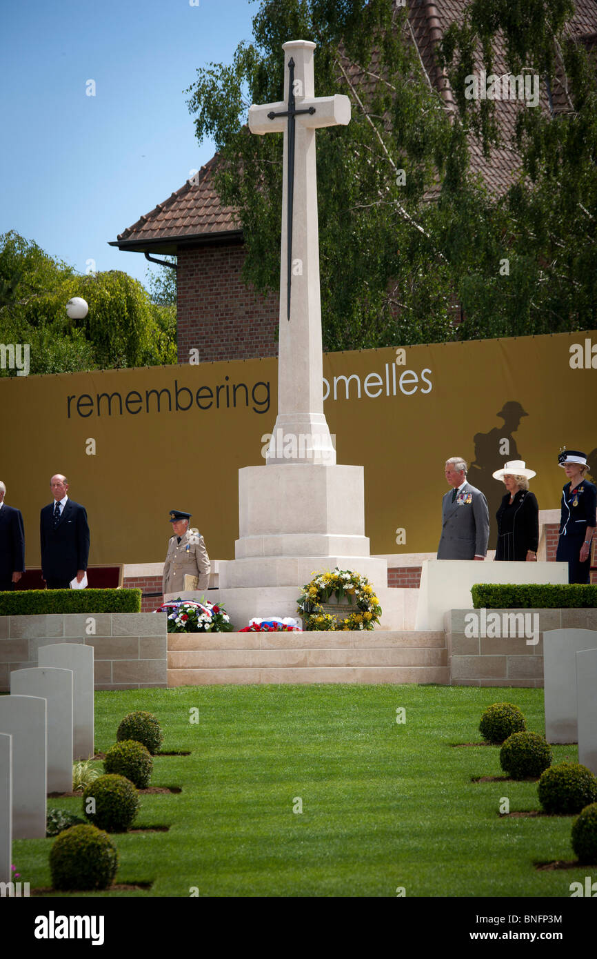 The dedication service and burial of the last WW1 soldier at Fromelles in northern France attended by Britain's - Stock Image