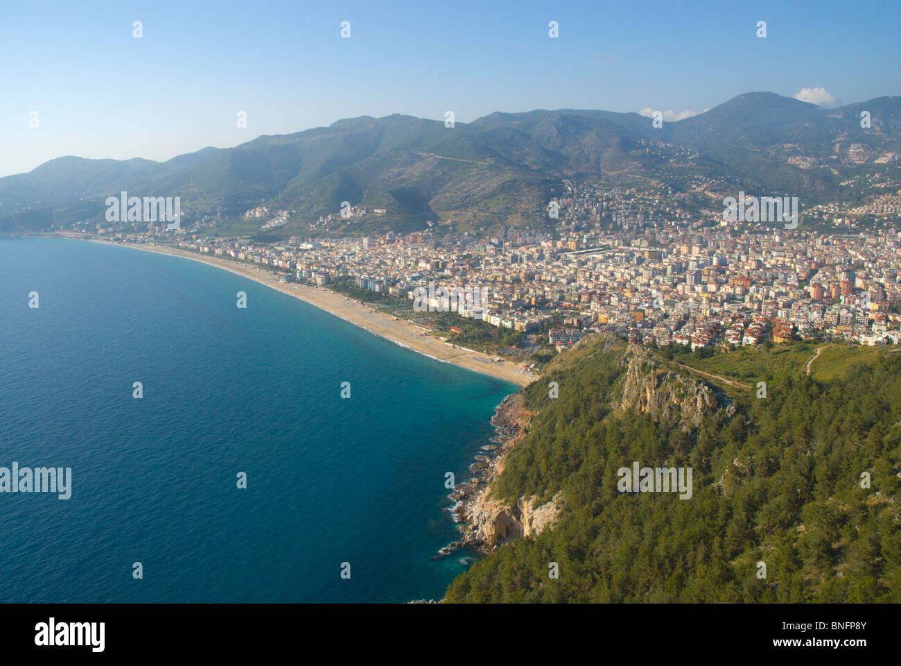 View from Kale the fortress Alanya Mediterranian coast Anatolia region Turkey Asia - Stock Image