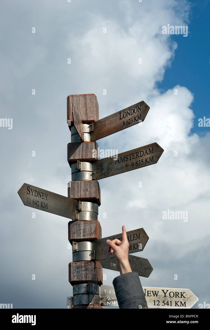 Signpost at Cape Point lighthouse South Africa - Stock Image