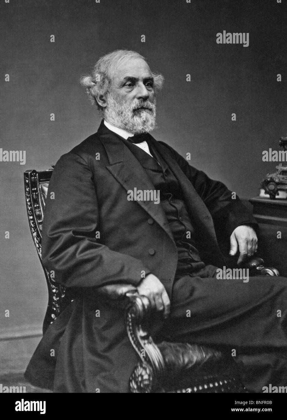 Portrait photo circa late 1860s of General Robert E Lee (1807 - 1870) - iconic Confederate commander in the American - Stock Image