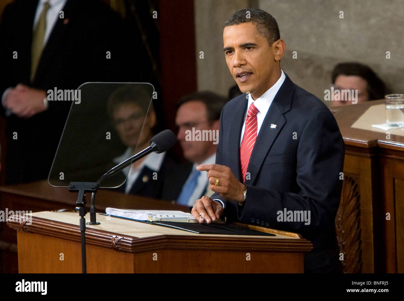 President Barack Obama addresses a joint session of Congress on Healthcare reform.  - Stock Image