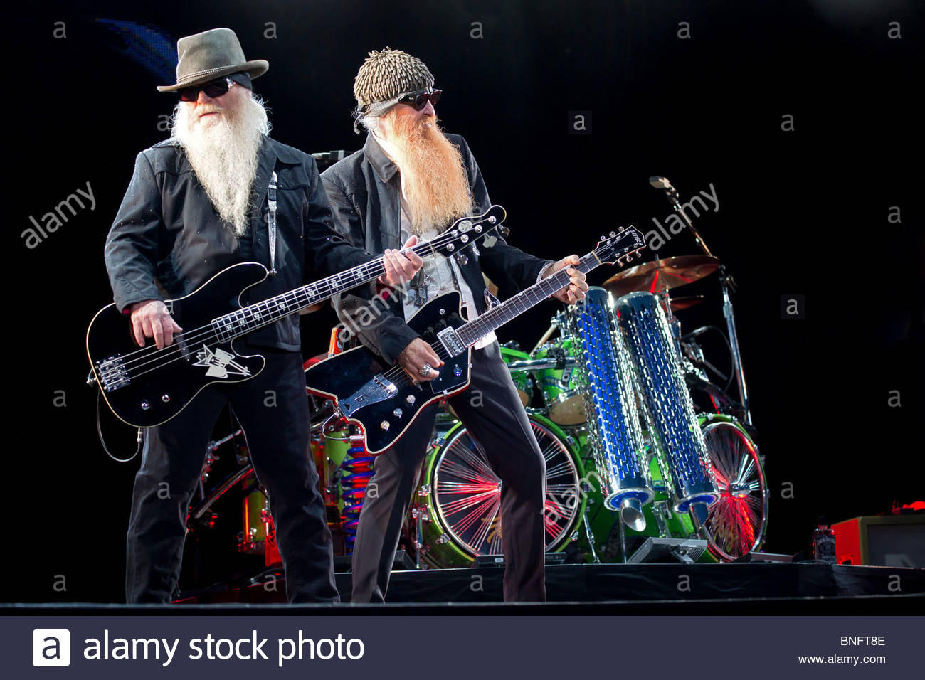 Texas blues rock band ZZ TOP performing live - Stock Image