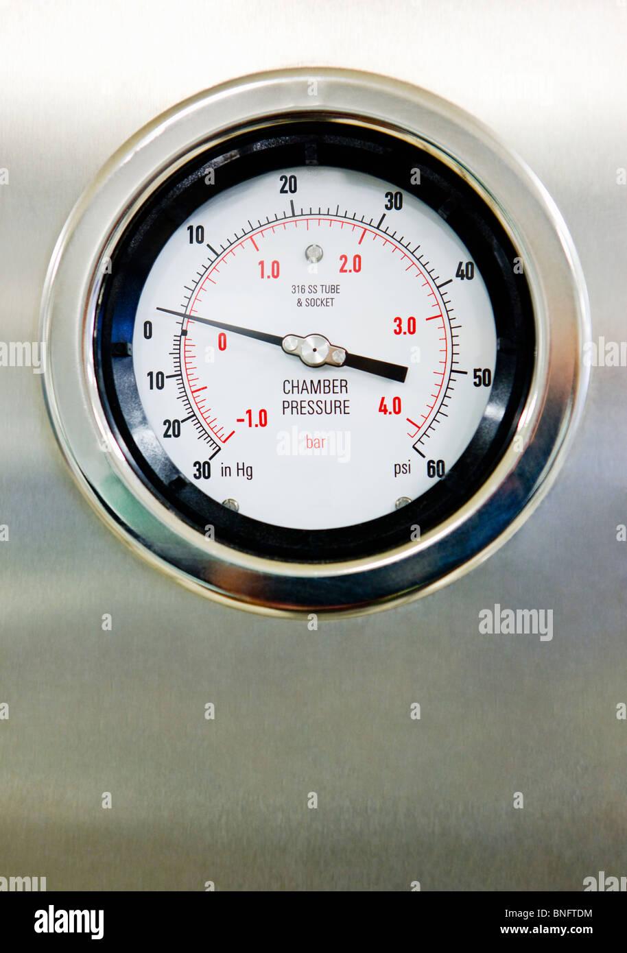 Hospital Pressure Gauge - Stock Image