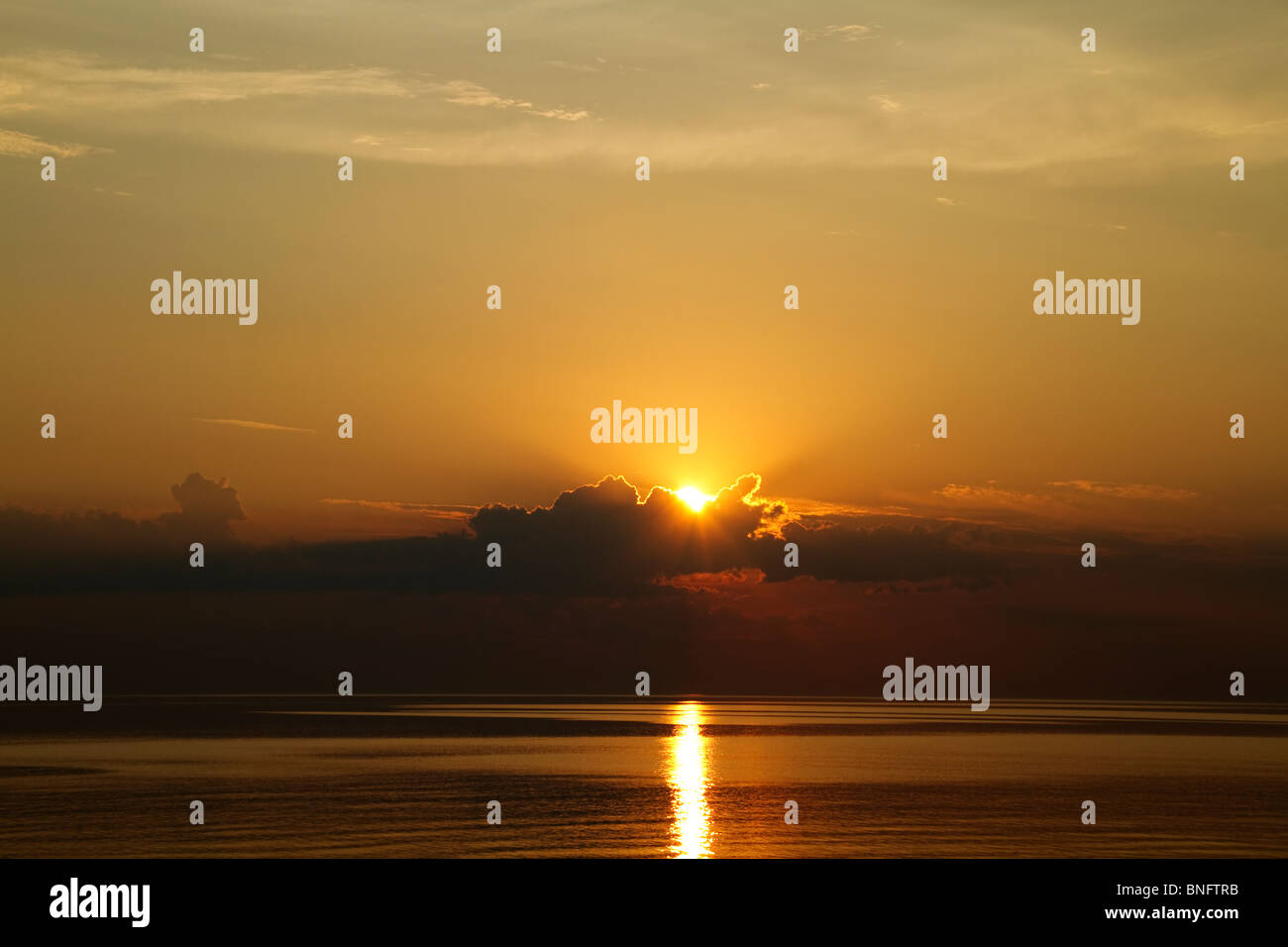 sunset at Sea - Stock Image