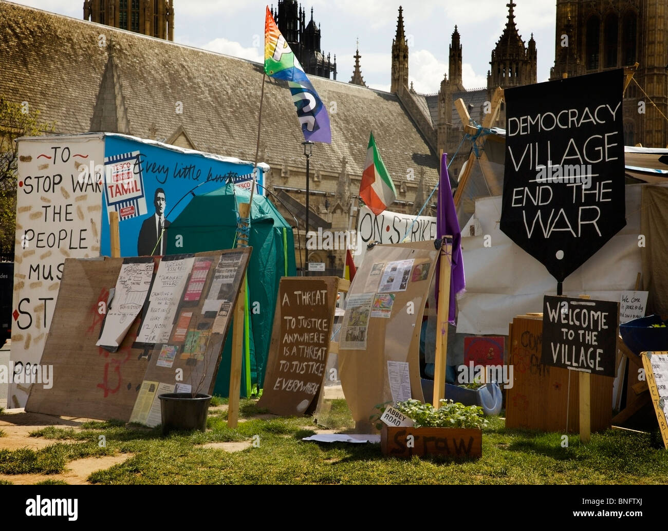 Democracy Village, Peace Camp, Parliament Square, London - Stock Image