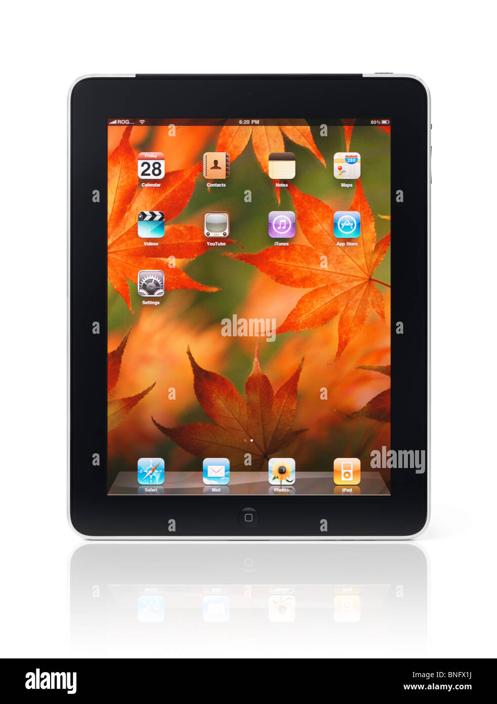 apple ipad 3g tablet with desktop icons and autumn theme background