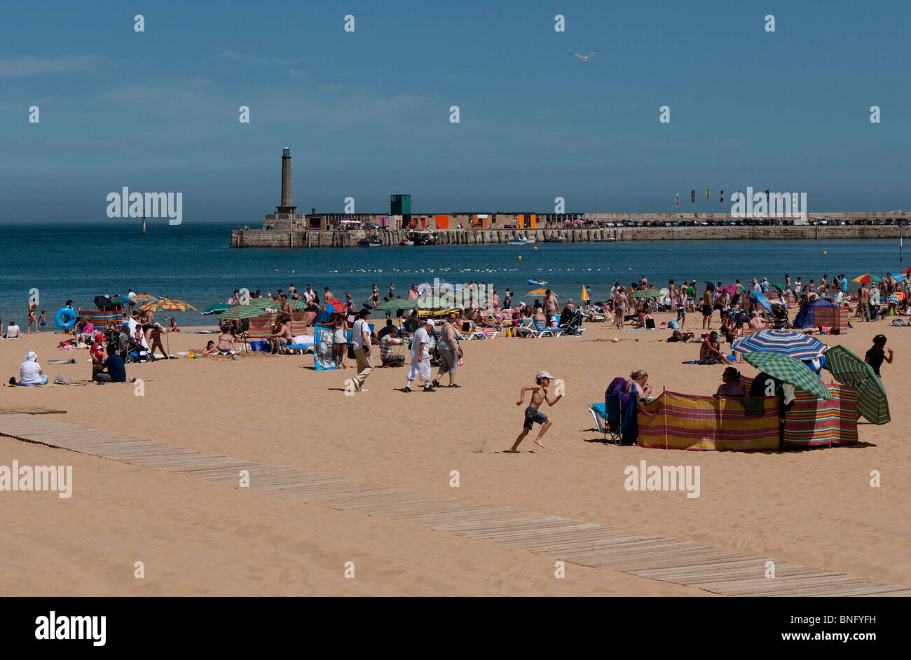 Margate Kent main town Beach on a summers day - Stock Image