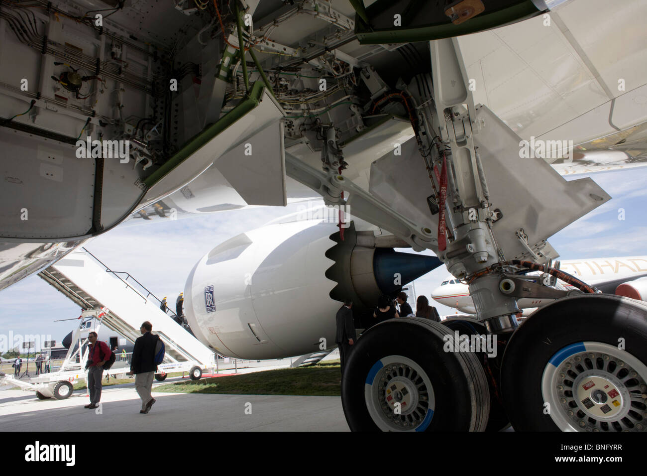 Undercarriage of Boeing's new 787 Dreamliner at Farnborough Airshow - Stock Image