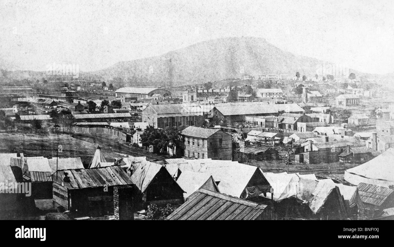 High angle view of town during American Civil War - Stock Image