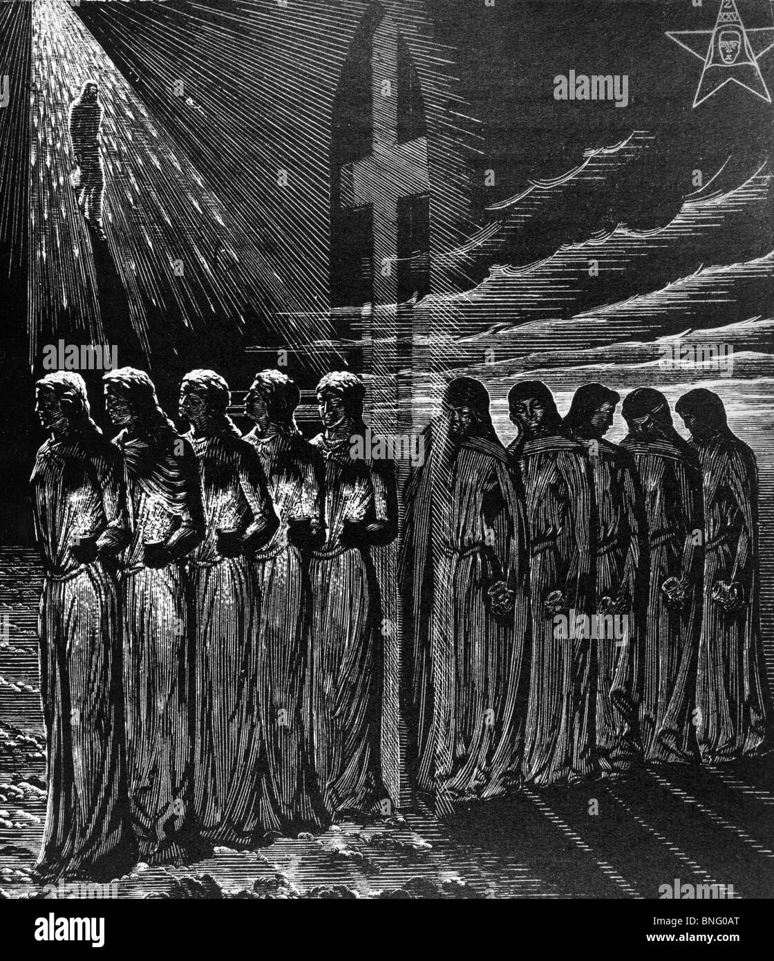 The Parable of the Ten Virgins by Victor Delhez, print - Stock Image