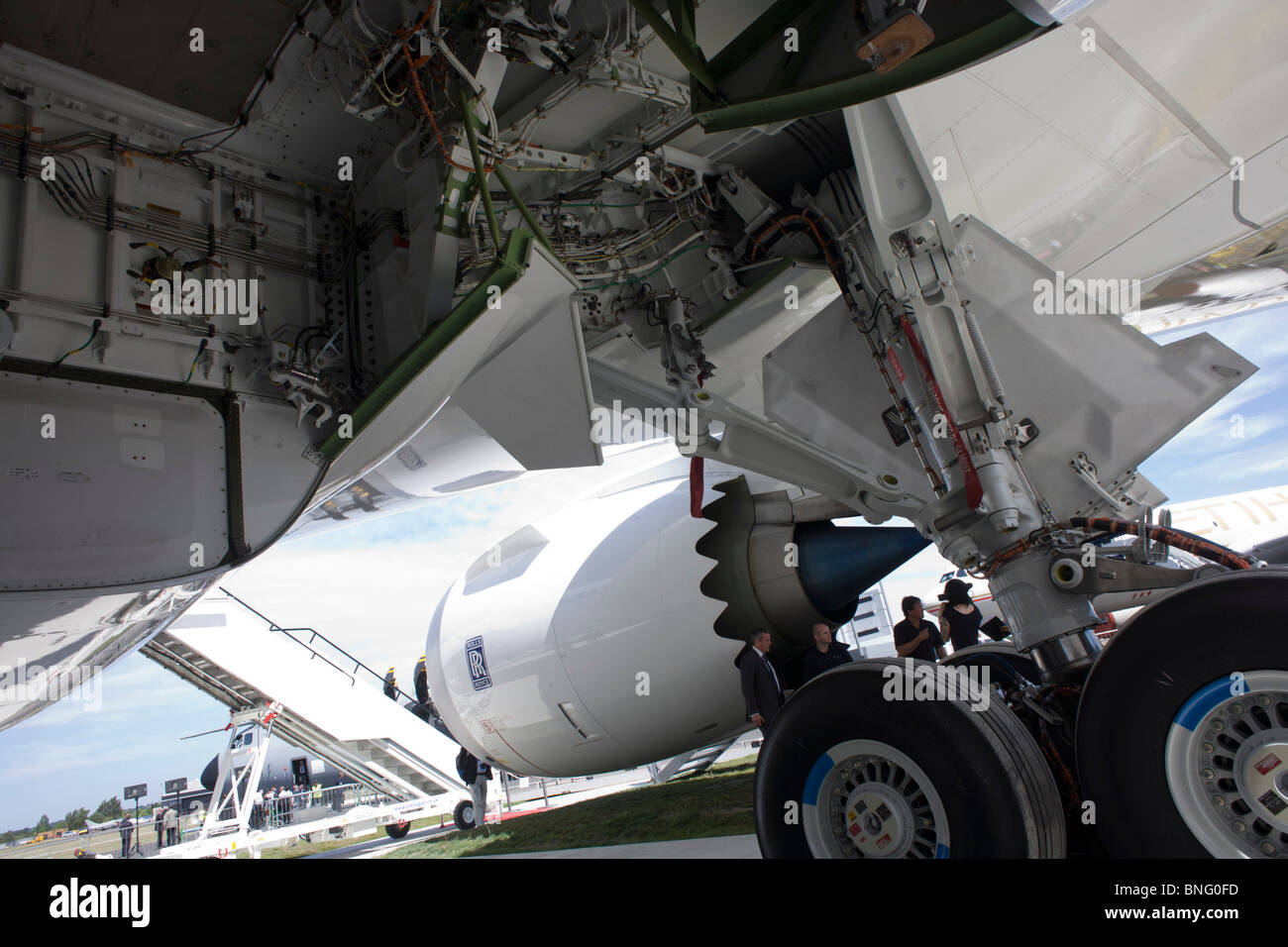 Undercarriage and main wheels bays of Boeing-manufactured 787 Dreamliner (N787BX) at the Farnborough Airshow. - Stock Image