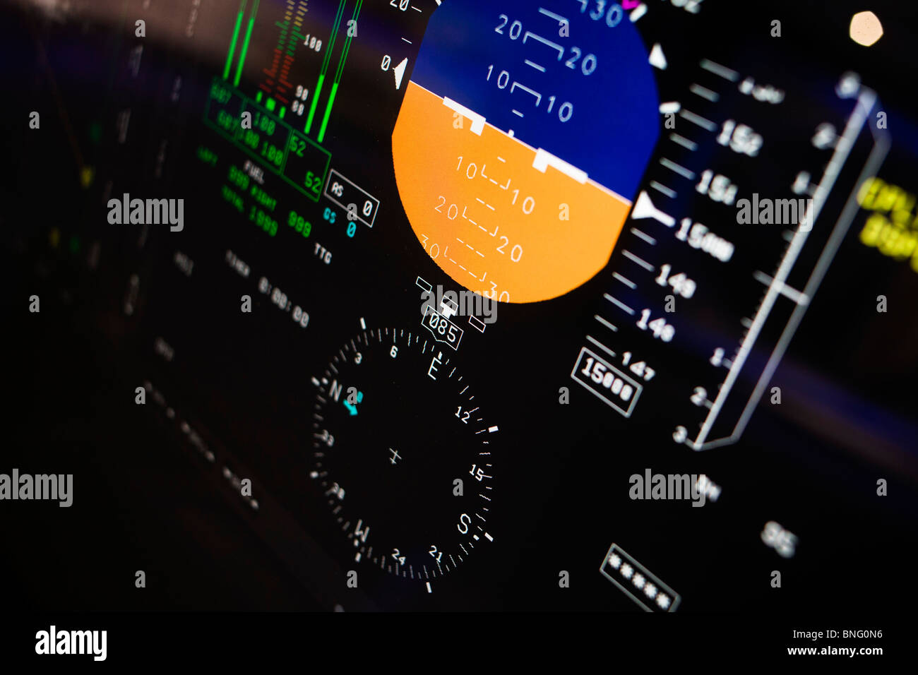 State-of-the-art cockpit LCD flight instruments made by Lockheed-Martin used by pilots on a Sikorsky MH-60R helicopter. - Stock Image