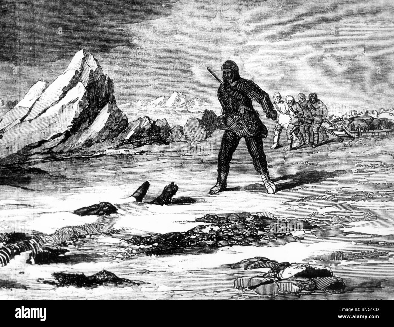 Search for the Franklin Party, McClintock Finding Skeleton in Snow by unknown artist - Stock Image