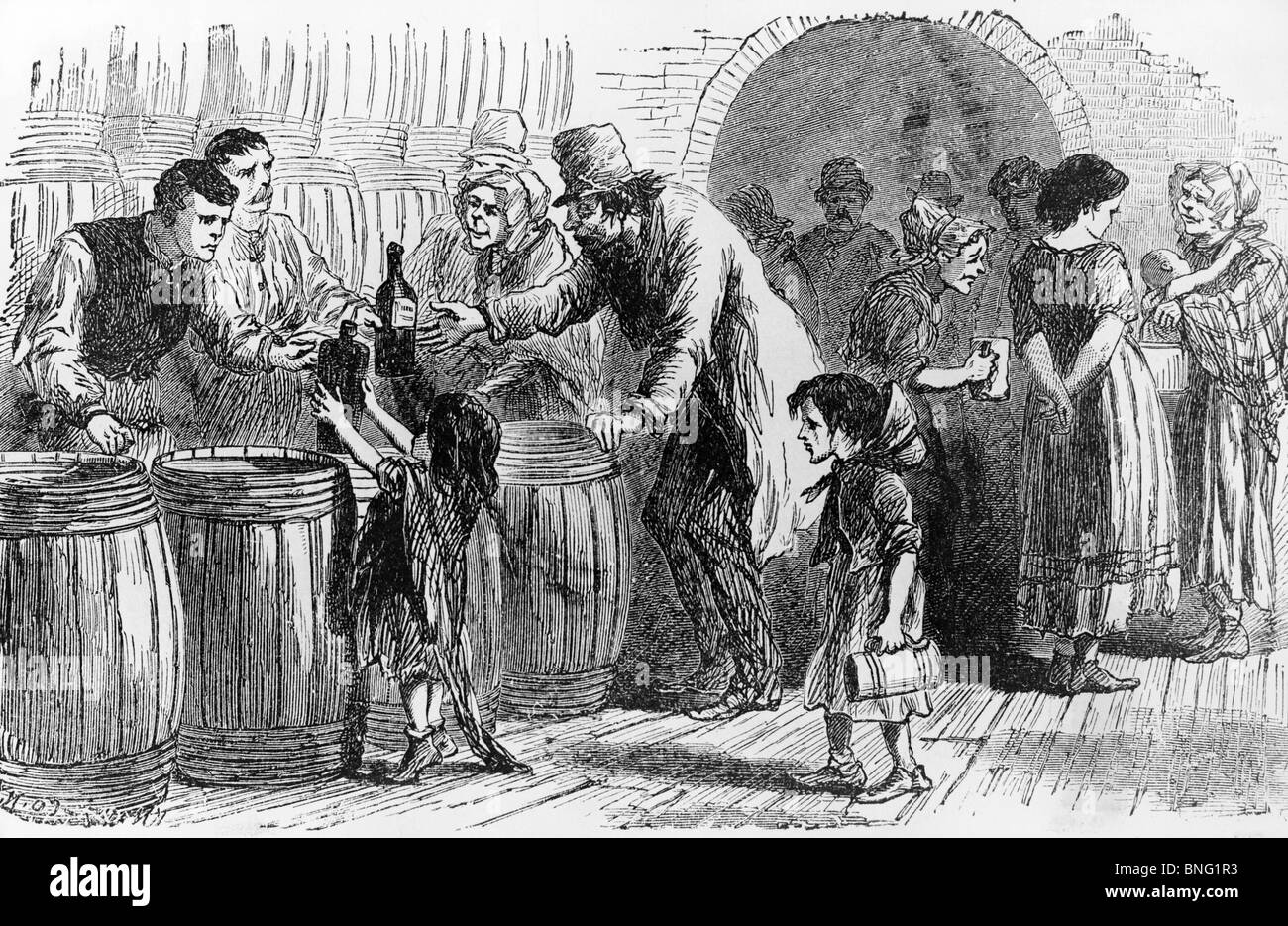 A London Gin Shop from History of Alcoholism by unknown artist - Stock Image
