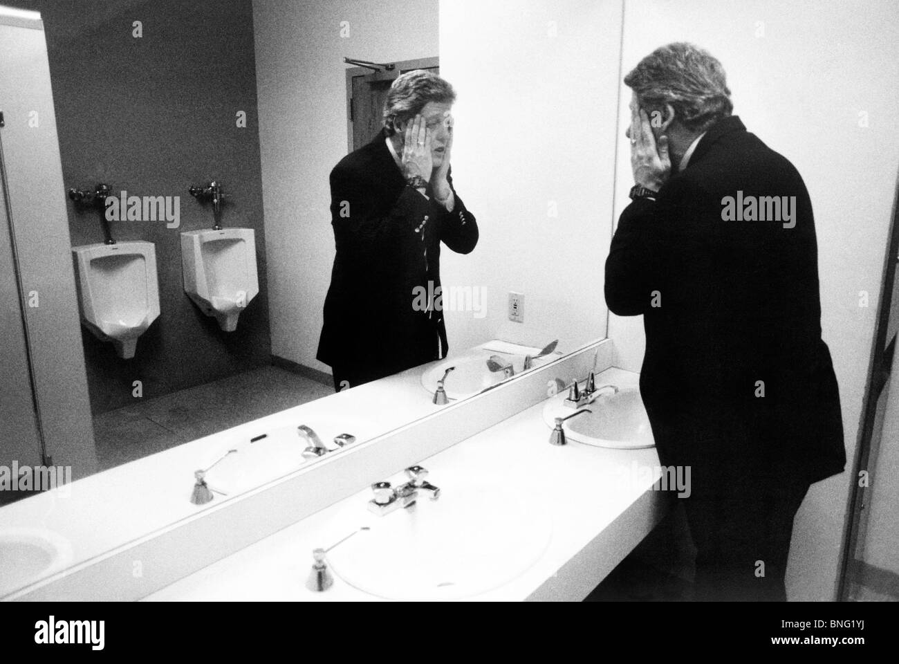 Bill Clinton In A Public Bathroom During The Election Campaignusa