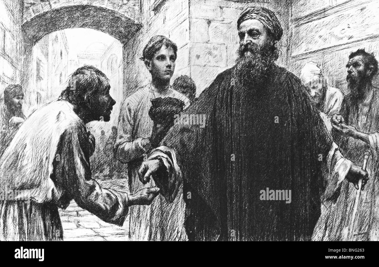 The Parable of the Pharisee and the Publican by Eugene Burnand, 1850-1921 - Stock Image