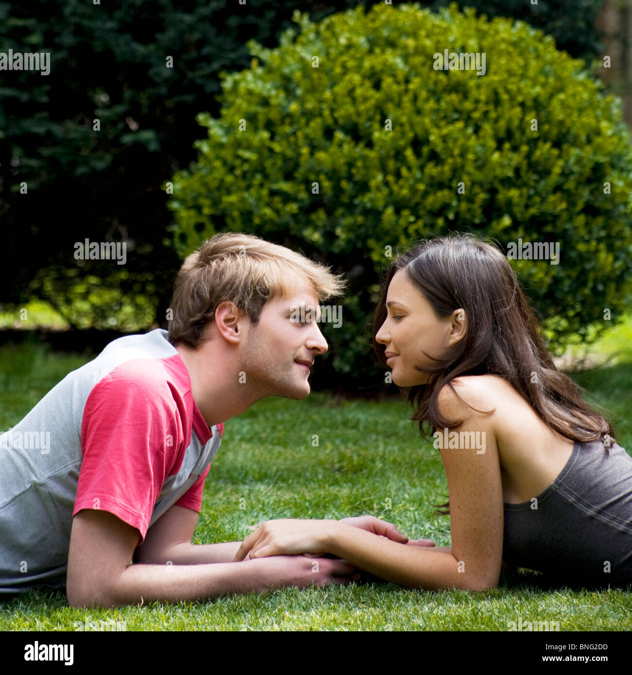 couple in the garden - Stock Image