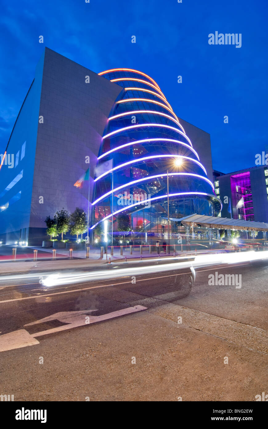 Night time view of the Convention Center in Dublin, Ireland - Stock Image