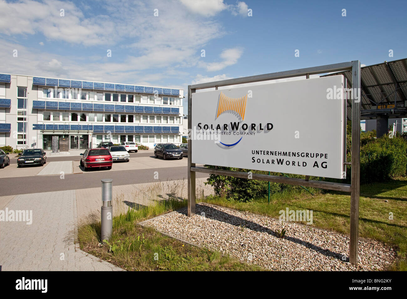 SolarWorld AG: production site for solar cells and solar panels in Freiberg, Germany - Stock Image