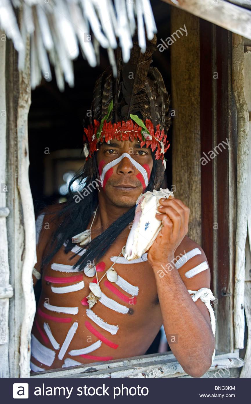 Reenactment of a Taina aborigenal ceremony at the Parke Nacional de Bariay,Province of Holguin,Cuba - Stock Image