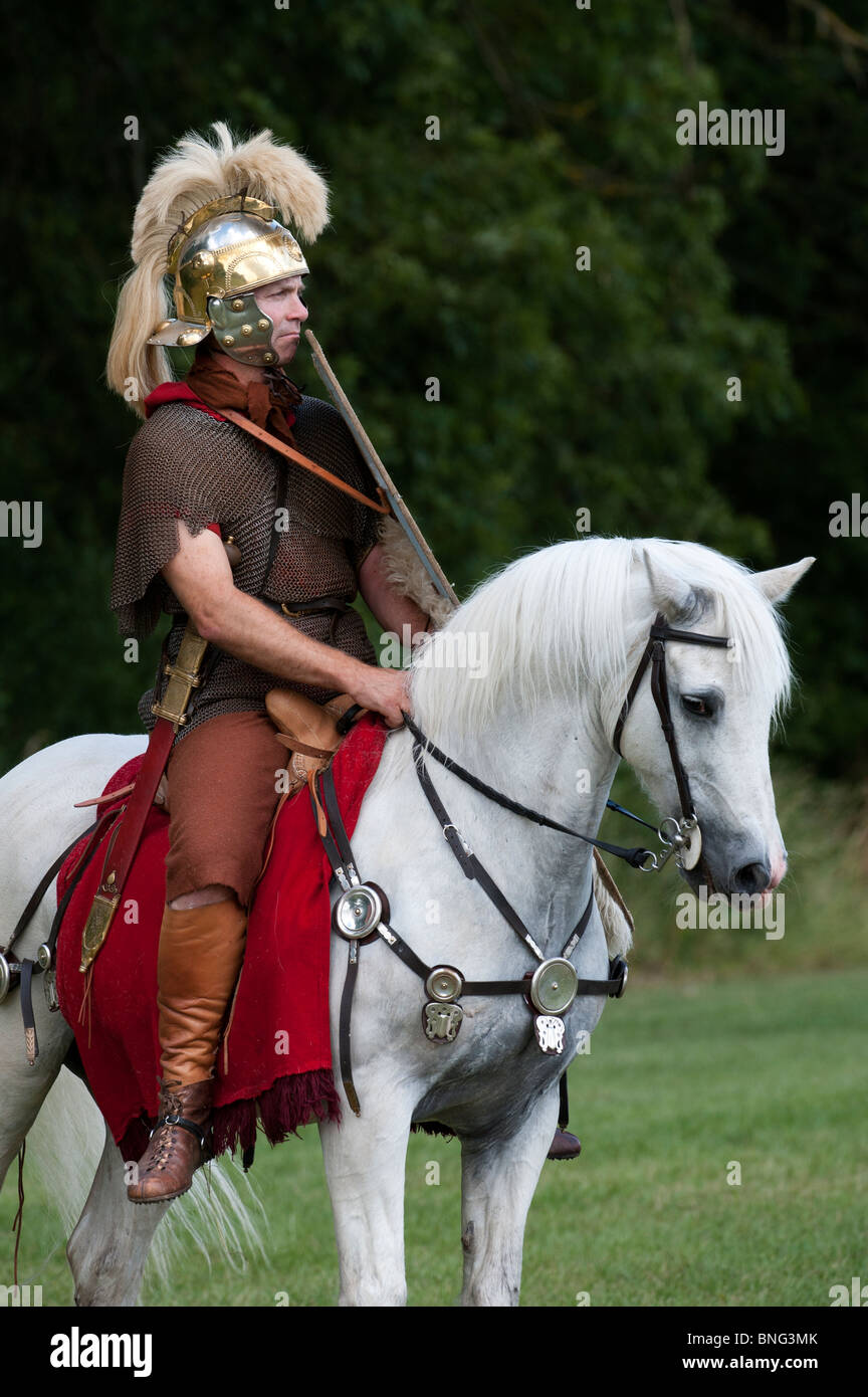 Roman Cavalry soldier on a white horse at a historical reenactment living history display - Stock Image