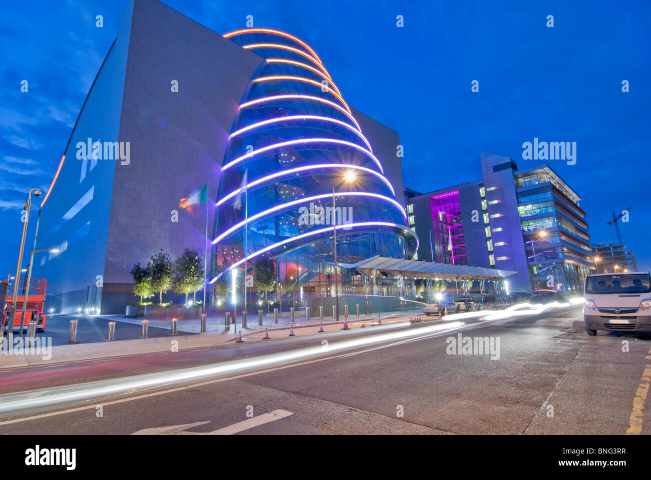 night time view of the convention center in dublin. Black Bedroom Furniture Sets. Home Design Ideas