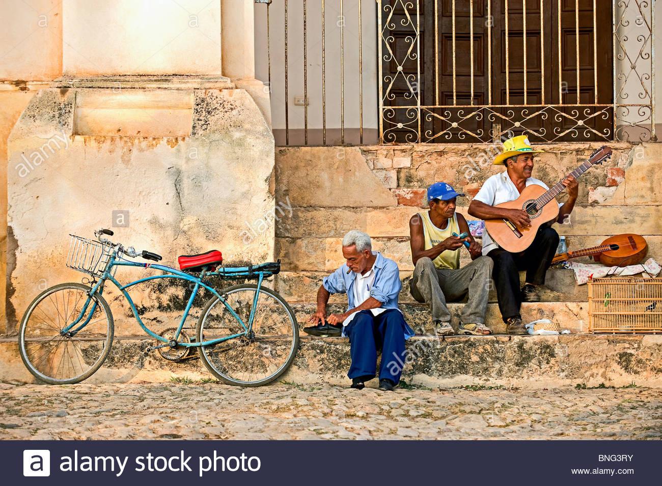 Street musicians. Trinidad,province of Sancti Spiritus,Cuba - Stock Image
