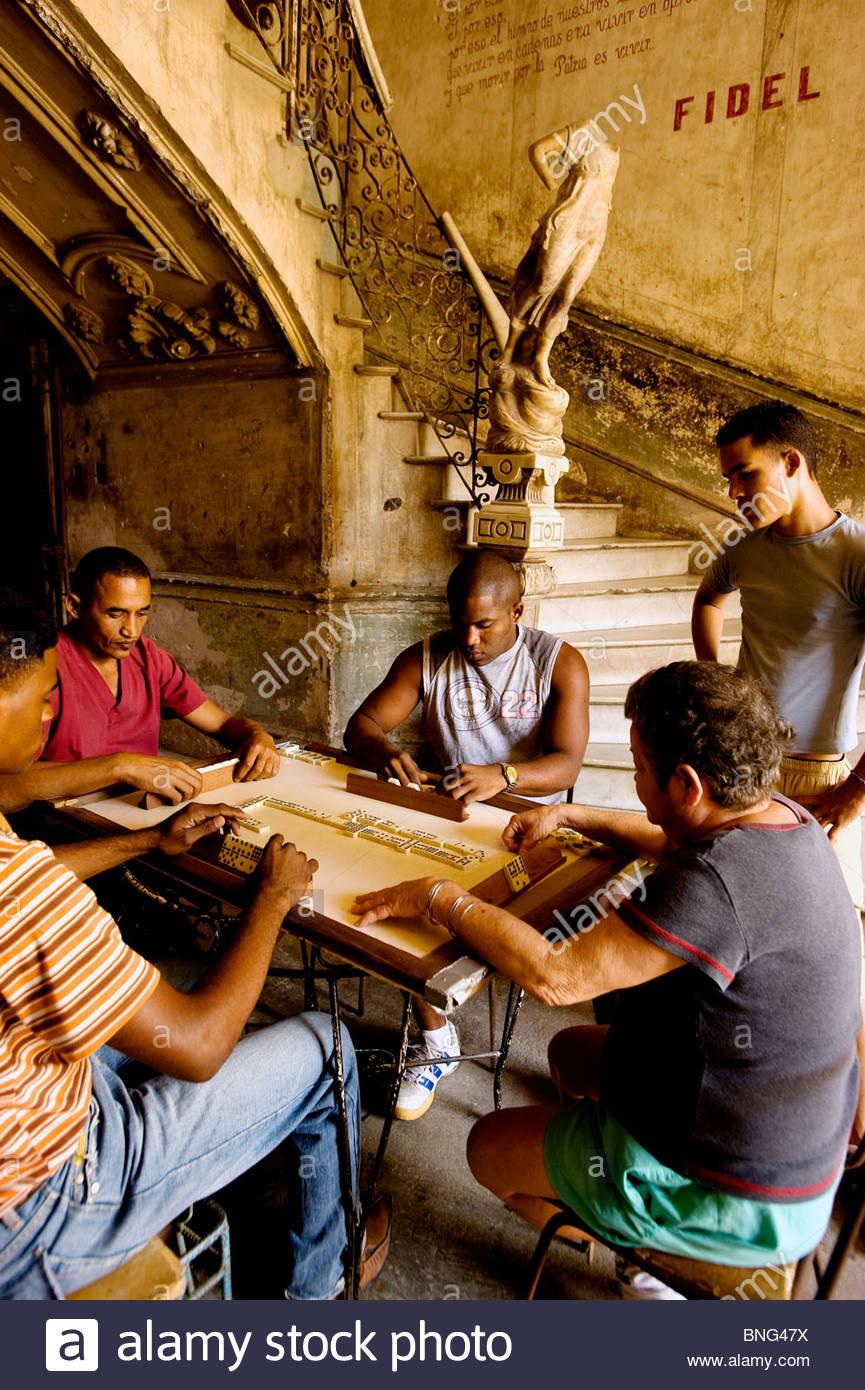 Domino players,La Guarida,Havana,Cuba - Stock Image