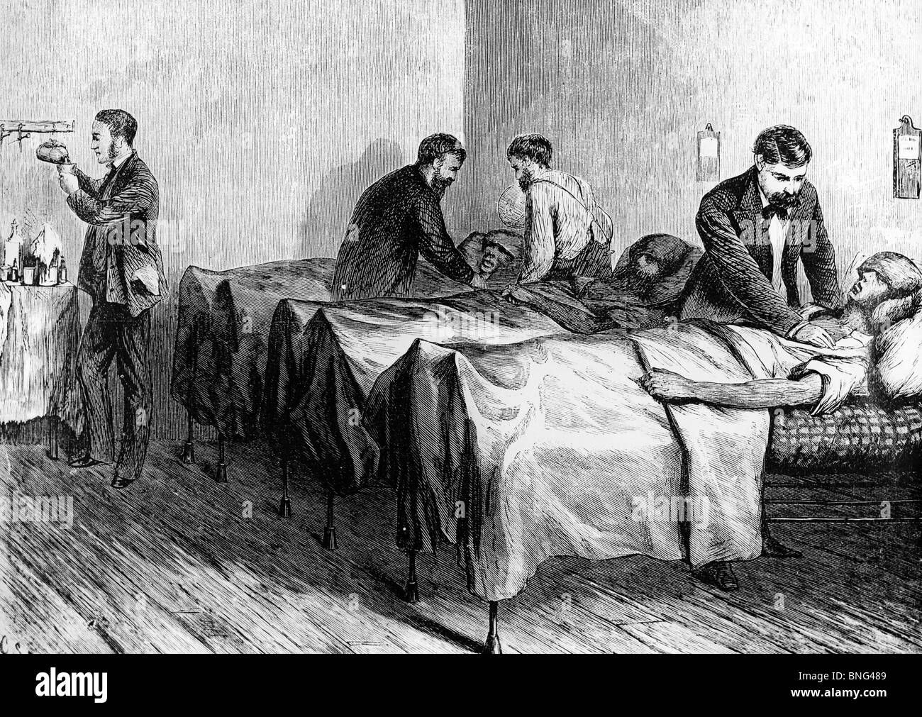 Where Are the Nurses? Heat Wave in NYC: Sun-Stuck Patients at the Center Street Hospital by unknown artist, 1872 - Stock Image