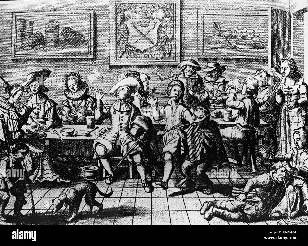 Drinking and Smoking Bout in Holland by unknown artist, 17th Century - Stock Image