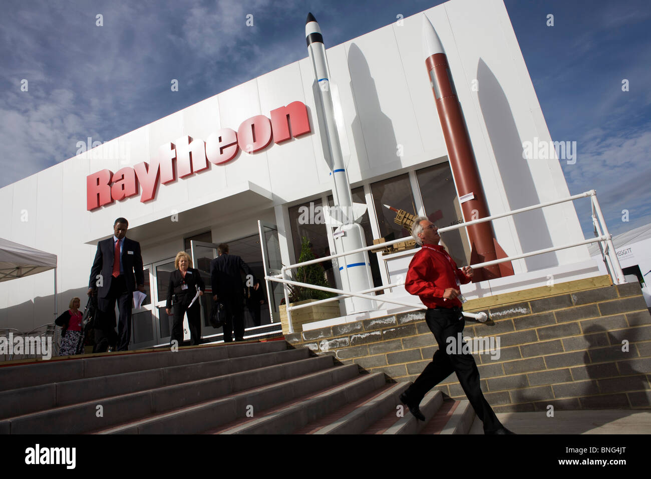 US Aerospace manufacturer Raytheon's hospitality chalet at the Farnborough Airshow. - Stock Image