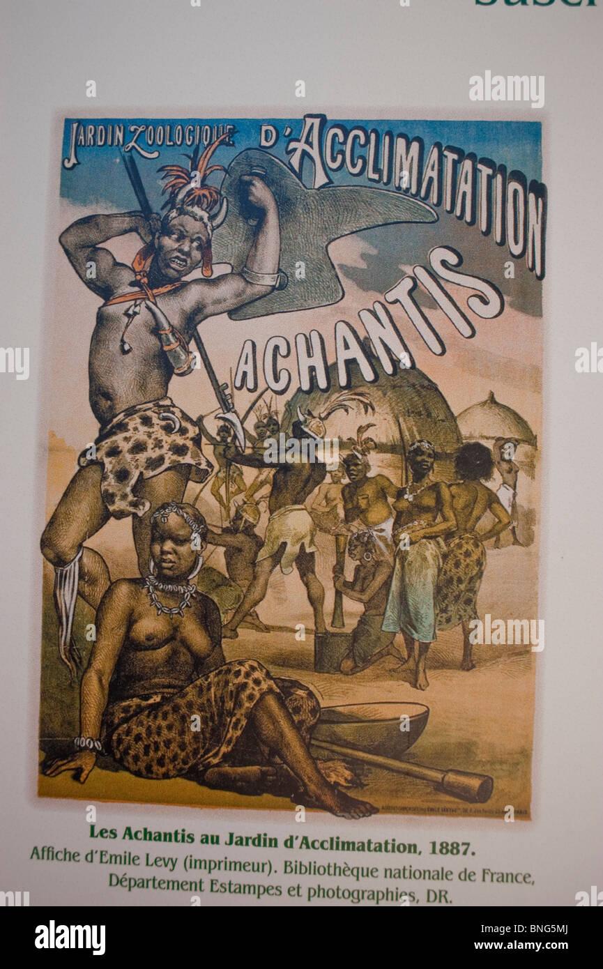 Paris, France, Urban Parks, Gardens, 'Bois de Boulogne' Zoo, Old French Colonialist Illustration - Stock Image