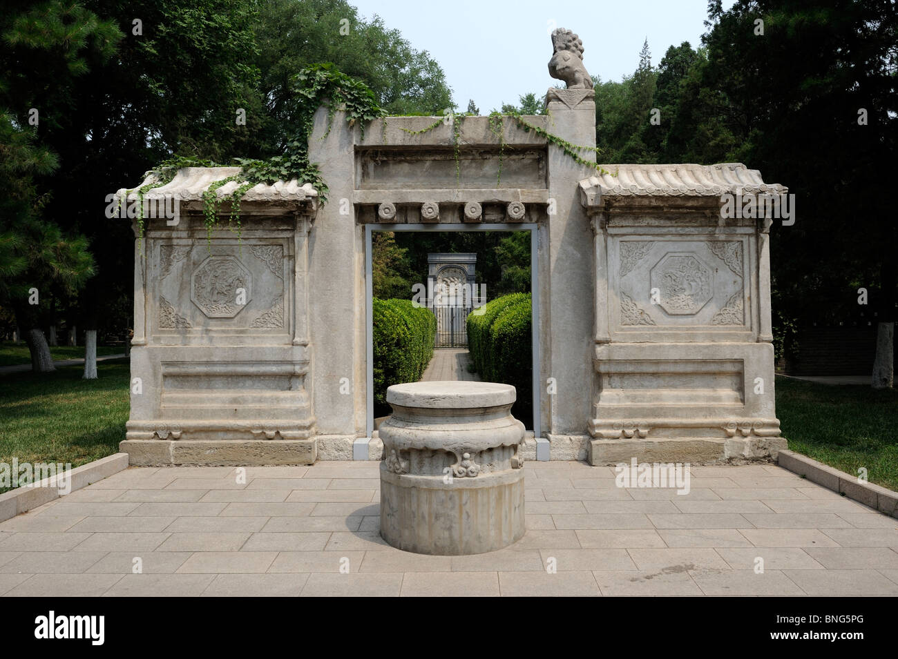 Stone memorial arch at the tombs of the Jesuit missionaries in Beijing, China. - Stock Image