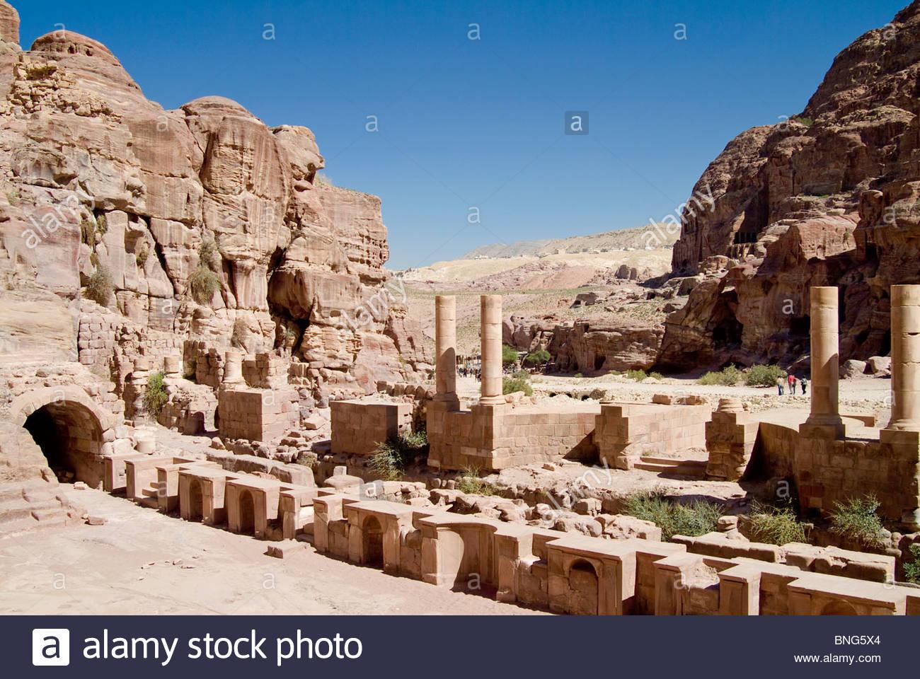 roman amphitheater,petra,jordan - Stock Image