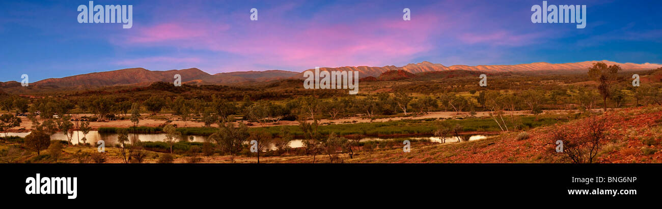 West MacDonnell Ranges and Finke River, from Glen Helen lookout, West MacDonnell National Park, Northern Territory, - Stock Image