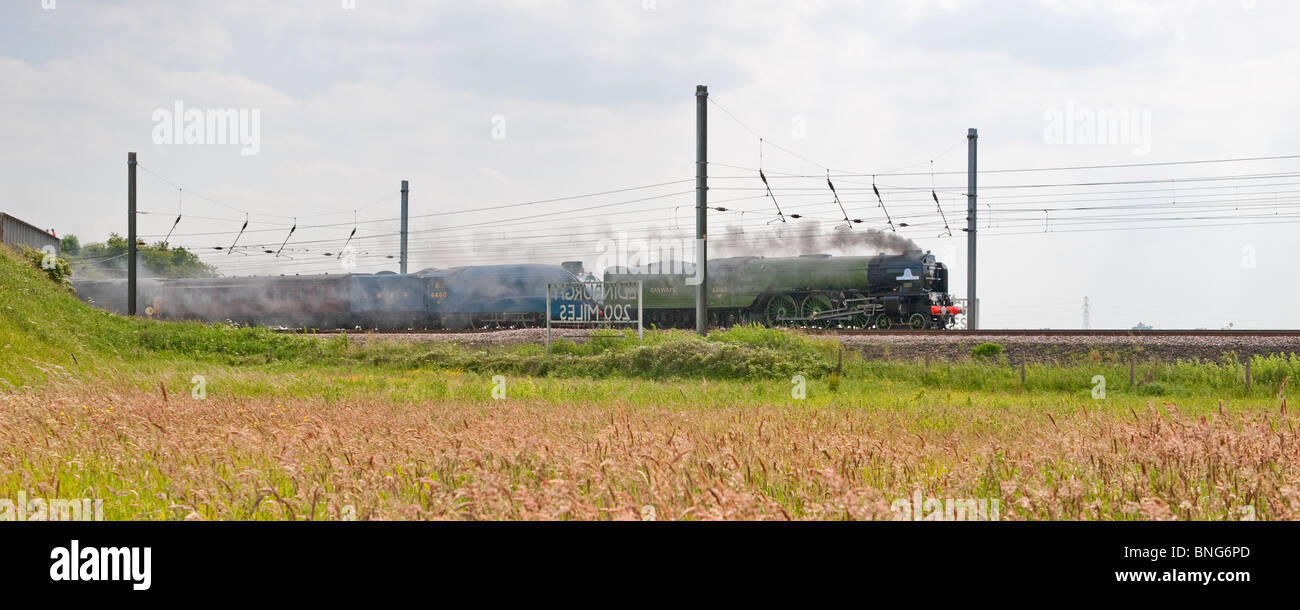 The newly built Tornado pulls the iconic Mallard steam train to Shildon from York. - Stock Image